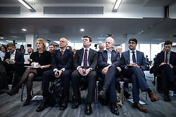 "© Licensed to London News Pictures. 07/01/2019. Manchester, UK. The Metro Mayor of Greater Manchester ANDY BURNHAM (c) announces a revised plan for new housing (some on greenbelt land) , transport infrastructure , the reduction of pollution and improvements to the environment across the North West , alongside the regeneration of Stockport Town Centre , at an event at etc Venues in Manchester City Centre . The new "" Spatial Framework "" also reaffirms the region's commitment to ban fracking and lists 50,000 new "" affordable "" homes (30,000 of which are specified as social housing) . Photo credit: Joel Goodman/LNP"