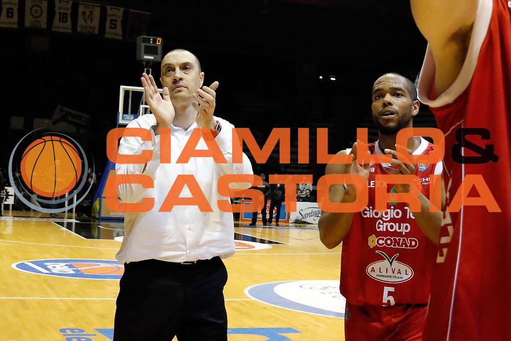 Caserta 06/03/2016 - Basket Lega A Campionato Italiano Pallacanestro 2015-16 <br /> Pasta Reggia Caserta - Giorgio Tesi Group Pistoia<br /> nella foto: esultanza Vincenzo Esposito<br /> foto Ciamillo