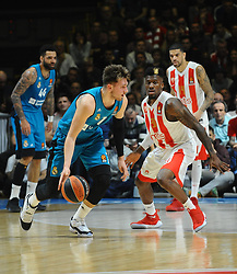 Luka Doncic of Real Madrid vs Dylan Ennis of Crvena Zvezda during basketball match between Crvena Zvezda mts Belgrade and Real Madrid in Round #29 of Euroleague 2017/18, on March 30, 2018 in Hala Pionir, Belgrade, Serbia. Photo by Nebojsa Parausic / Sportida