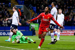 Liverpool's Raheem Sterling celebrates after scoring a last minute equaliser - Photo mandatory by-line: Matt McNulty/JMP - Mobile: 07966 386802 - 04/02/2015 - SPORT - Football - Bolton - Macron Stadium - Bolton Wanderers v Liverpool - FA Cup - Fourth Round