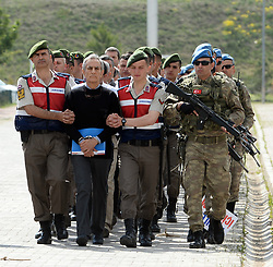 May 22, 2017 - Ankara, Turkey - Former Turkish Air Force Chief General AKIN OZTURK in front of 221 suspects being brought to court. A trial on the attempted takeover of the Turkish military's main headquarters during last year's coup attempt starts today in the capital Ankara, in a tightly-guarded complex of a prison and courtrooms. It is the first time that 221 suspects, including leaders of the junta will be on the dock after their arrest in the aftermath of the putsch bid. (Credit Image: © Depo Photos via ZUMA Wire)