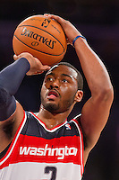 22 March 2013: Guard (2) John Wall of the Washington Wizards shoots a free-throw against the Los Angeles Lakers during the second half of the Wizards 103-100 victory over the Lakers at the STAPLES Center in Los Angeles, CA.