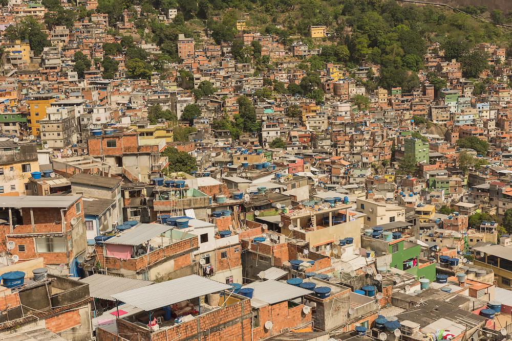Favela seen from above, Rio de Janeiro, Brazil.