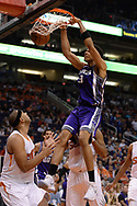 Mar 15, 2017; Phoenix, AZ, USA; Sacramento Kings forward Skal Labissiere (3) dunks the ball in front of Phoenix Suns forward Jared Dudley (3) in the second half at Talking Stick Resort Arena. The Sacramento Kings won 107 - 101. Mandatory Credit: Jennifer Stewart-USA TODAY Sports
