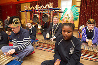 repro free: Galway Gamelan Experience at the Rowning Club where Students from Scoil Leanbh Iosa where they experienced the musical magic of the Gamelan- a traditional Indonesian orchestral Instrument an deere joined by  Cllr Frank Fahy Mayor of Galway City.  <br />  Photo:Andrew Downes, xposure
