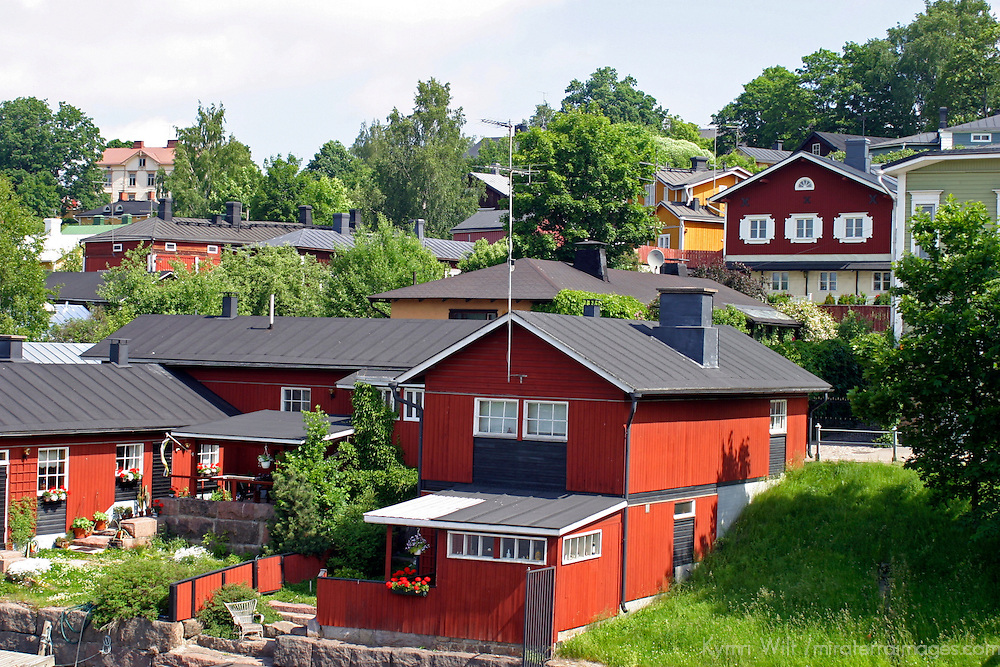 Europe, Scandinavia, Finland, Porvoo. Red houses line the Porvoonjoki river in scenic Porvoo.