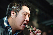 CHANGCHUN, CHINA - NOVEMBER 18: (CHINA OUT) <br /> <br /> Dancing Teacher Performs With Poisonous Creatures<br /> <br /> Tian Jiashi puts a live lizard into his mouth on November 18, 2015 in Changchun, Jilin Province of China. 33-year-old dancing teacher Tian Jiashi has been fascinated and fed scorpions, vipers, centipedes, lizards and spiders at home for seven years in Changchun. Tian sometimes performed swallowing these poisonous creatures onstage even being bit hundreds of times. <br /> ©Exclusivepix media