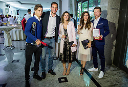 Players of NK Maribor: Luka Zahovic, Rodrigo Defendi, his wife, Dare Vrsic  and his wife (2R) during SPINS XI Nogometna Gala 2017 event when presented best football players of Prva liga Telekom Slovenije in season 2016/17, on May 23, 2017 in Grand hotel Union, Ljubljana, Slovenia. Photo by Vid Ponikvar / Sportida