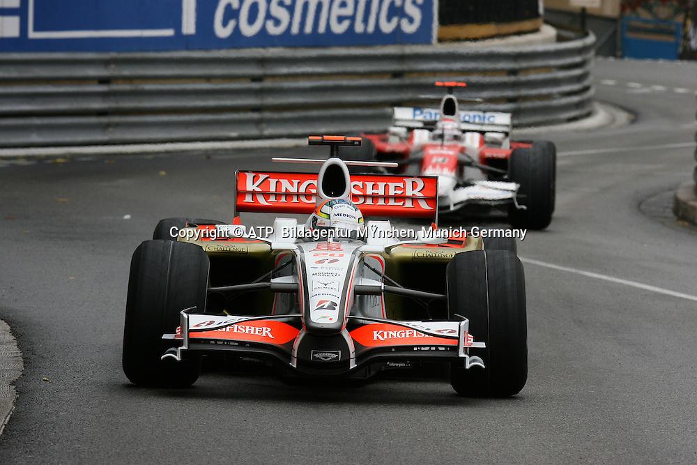 Adrian Sutil, Team Force India, Jarno Trulli, Toyota. Monaco F1 Grand Prix. 25 May 2008. Photo: ATP/PHOTOSPORT