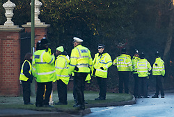 © Licensed to London News Pictures. 04/12/2019. Watford, UK. Police guard the gates to The Grove Hotel where NATO leaders are meeting. World leaders are attending a series of events over the two day NATO summit which will mark the 70th anniversary of the alliance of nations. Photo credit: Peter Macdiarmid/LNP