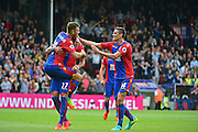 Crystal Palace defender Martin Kelly (34) and Crystal Palace defender Damien Delaney (27) celebrate Crystal Palace midfielder Joe Lesley (16) goal during the Premier League match between Crystal Palace and Stoke City at Selhurst Park, London, England on 18 September 2016. Photo by Jon Bromley.