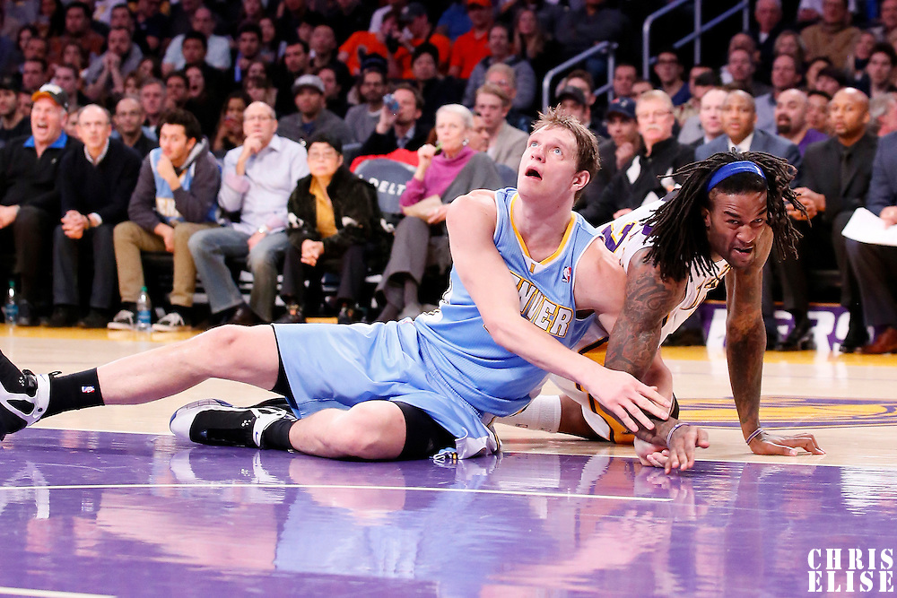 05 January 2014: Denver Nuggets center Timofey Mozgov (25) vies for the rebound with Los Angeles Lakers center Jordan Hill (27) during the Denver Nuggets 137-115 victory over the Los Angeles Lakers at the Staples Center, Los Angeles, California, USA.