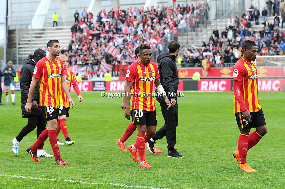 Deception Pierrick VALDIVIA / Lalaina NOMENJANAHARY / Loick LANDRE - 26.04.2015 - Lens / Monaco - 34eme journee de Ligue 1<br />Photo : Nolwenn Le Gouic / Icon Sport