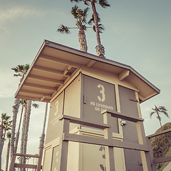 San Clemente Lifeguard Tower Three retro photo. San Clemente is a beach city in Orange County Southern California in the United States of America. Copyright ⓒ 2017 Paul Velgos with All Rights Reserved.
