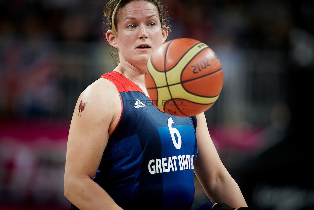 Clare Strange of the Gerat Britain women's Wheelchair Basketball team plays at the Paralympic Basketball Arena in their 42-37 win over Brazil on day 3 of the London 2012 Paralympic Games. 1st September 2012.