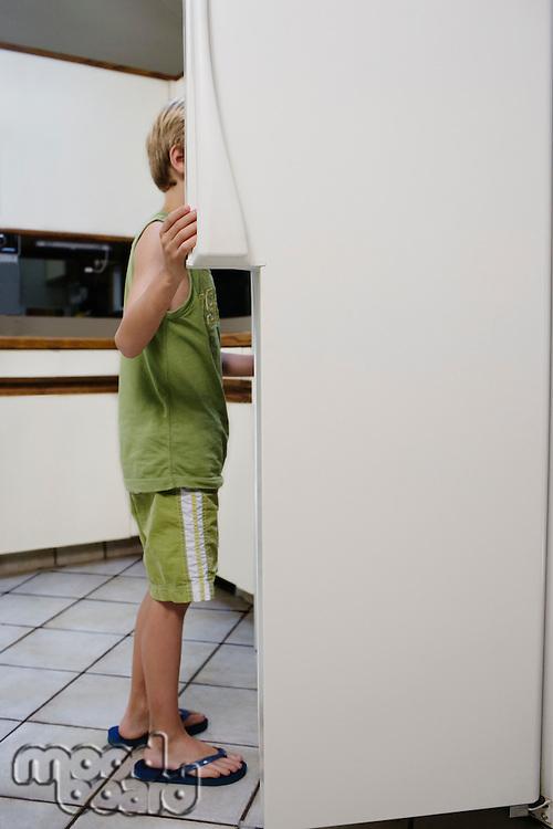 Boy (5-6) looking into fridge