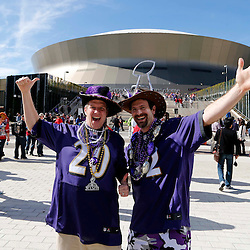 Feb 3, 2013; New Orleans, LA, USA; Baltimore Ravens fans Gary Siegler (right) and Mike Schleifer (left) pose for photos before Super Bowl XLVII against the San Francisco 49ers at the Mercedes-Benz Superdome. Mandatory Credit: Derick E. Hingle-USA TODAY Sports