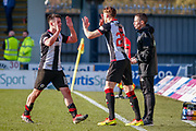 Goalscorer Danny Mullen of St Mirren high fives substitute Cody Cooke of St Mirren during the Ladbrokes Scottish Premiership match between St Mirren and Dundee at the Paisley 2021 Stadium, St Mirren, Scotland on 30 March 2019.