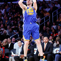 11 April 2014: Golden State Warriors guard Steve Blake (25) takes a jumpshot during the Golden State Warriors 112-95 victory over the Los Angeles Lakers at the Staples Center, Los Angeles, California, USA.