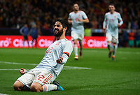 MADRID, SPAIN - MARCH 27:  Isco Alarcon of Spain celebrates after scoring his sides sixth goal during the international friendly match between Spain and Argentina at Wanda Metropolitano stadium on March 27, 2018 in Madrid, Spain.  (Photo by Quality Sport Images/Getty Images)