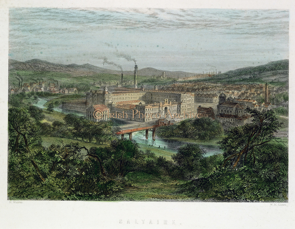 Saltaire, model textile factory and town near Bradford,Yorkshire, England. Founded by Titus Salt (1803-1776) in 1851. Shops, library, etc. provided for workers, but no public house as Salt a teetotaller. Built on the Leeds and Liverpool canal for ease of transport. Hand-coloured engraving.