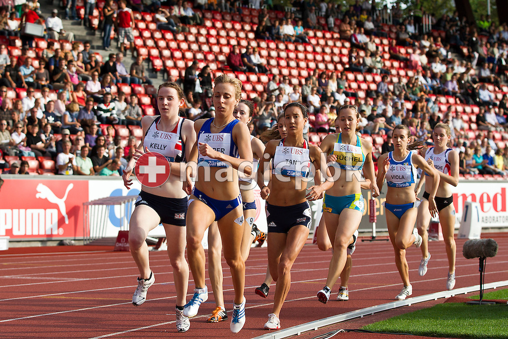 (L-R) Winner Sarah KELLY of Great Britain, second placed Corina HARRER of Germany, Jenny TAN of Great Britain, Selina BUECHEL of Switzerland, third placed Giulia VIOLA of Italy and Yentl VANDENBERGHE of Belgium compete in the women's 800m U20 Swiss Post Run during the IAAF Diamond League meeting at the Letzigrund Stadium in Zurich, Switzerland, Thursday, Aug. 19, 2010. (Photo by Patrick B. Kraemer / MAGICPBK)