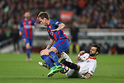 IVAN RAKITIC of FC Barcelona is tackled by NICOLAS PAREJA of Sevilla FC during the Spanish championship Liga football match between FC Barcelona and Sevilla FC on April 5, 2017 at Camp Nou stadium in Barcelona, Spain. <br /> Photo Manuel Blondeau / AOP Press / ProSportsImages / DPPI