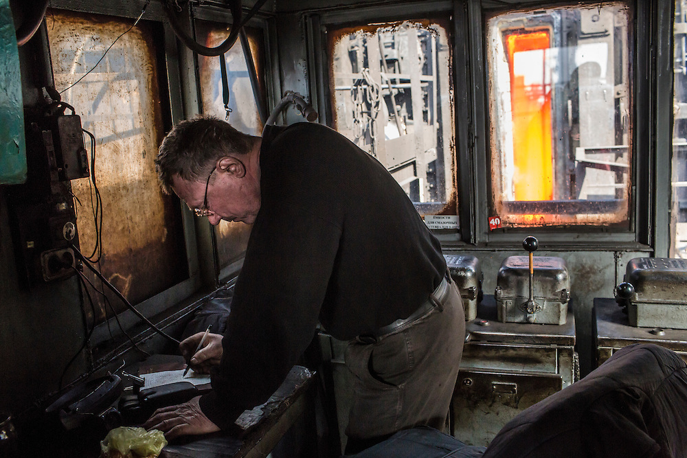 AVDIIVKA, UKRAINE - MARCH 18, 2015: A worker at the Avdiivka Coke and Steel plant in Avdiivka, Ukraine. CREDIT: Brendan Hoffman for The New York Times