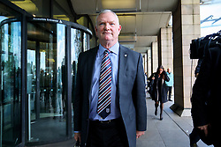 © Licensed to London News Pictures. 17/10/2016. London, UK. Chairman of the Football Association GREG CLARKE leaves Houses of Parliament in London where he faced members of the Culture, Media and Sport Committee. Clarke was expected to be questioned on the dismissal of former England manager Sam Allardyce. Photo credit: Tolga Akmen/LNP