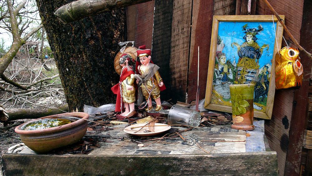 Nats ( Burmese divinities) whorship place destroyed after Cyclone Nargis.