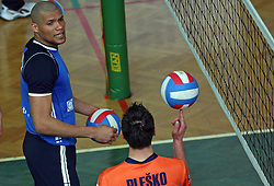 Roberto Carlos Brito da Purificacao of Salonit  and  Matija Plesko of ACH Volley at 4th and final match of Slovenian Voleyball  Championship  between OK Salonit Anhovo (Kanal) and ACH Volley (from Bled), on April 23, 2008, in Kanal, Slovenia. The match was won by ACH Volley (3:1) and it became Slovenian Championship Winner. (Photo by Vid Ponikvar / Sportal Images)/ Sportida)