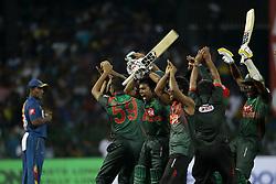 March 16, 2018 - Colombo, Sri Lanka - Bangladesh cricketers celebrate their win during the 6th T20 cricket match of NIDAHAS Trophy between Sri Lanka  and Bangladesh at R Premadasa cricket ground, Colombo, Sri Lanka on Friday 16 March 2018. (Credit Image: © Tharaka Basnayaka/NurPhoto via ZUMA Press)