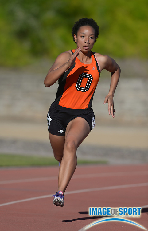 May 3, 2014; Los Angeles, CA, USA; Ayana Foster of Occidental College runs 59.45 in a womens 400m heat in the 2014 SCIAC Championships at Occidental College.