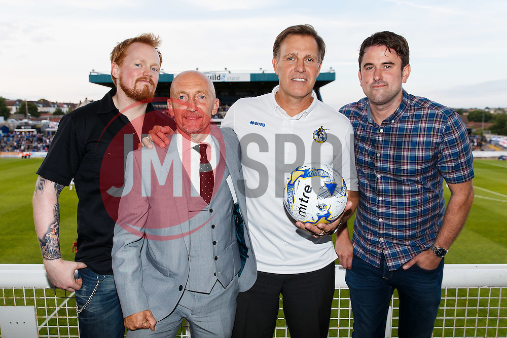 Former Bristol Rovers player and manager Ian Holloway and retiring Bristol Rovers physio Phil Kite make the matchball sponsor presentation at halftime - Mandatory byline: Rogan Thomson/JMP - 07966 386802 - 31/07/2015 - FOOTBALL - Memorial Stadium - Bristol, England - Bristol Rovers v West Bromwich Albion - Phil Kite Testimonial Match.