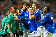 Rangers and Legia Warsaw players square up to each other after the final whistle of the Europa League Play Off leg 2 of 2 match between Rangers FC and Legia Warsaw at Ibrox Stadium, Glasgow, Scotland on 29 August 2019.