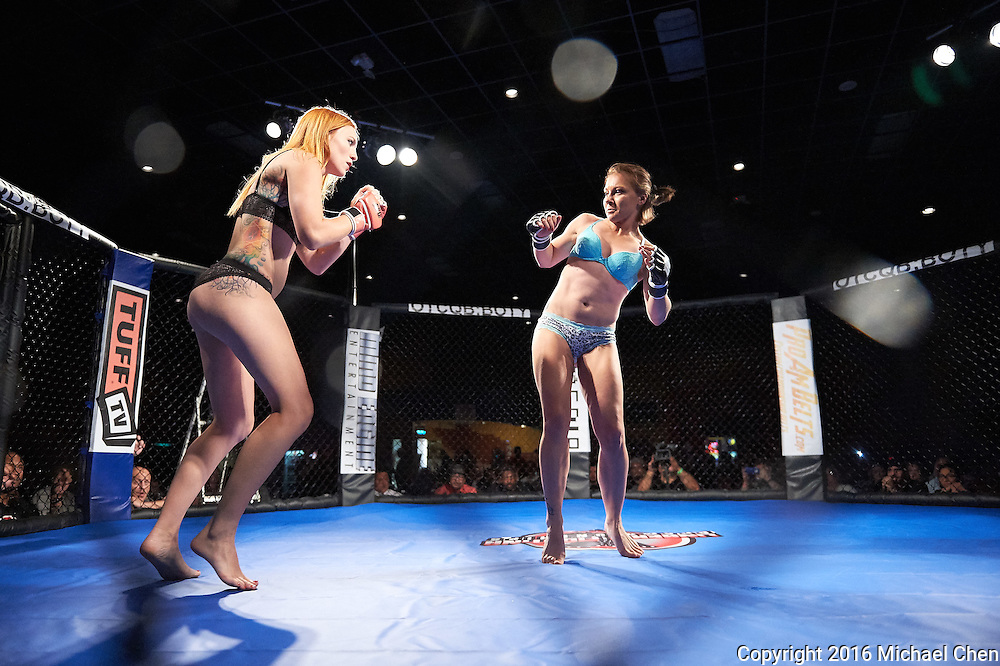 "2016/06/18 -- LFC 21: Naughty 'n Nice -- <br /> Fighters Jolene ""The Valkyrie"" Hexx and Andreea ""The Storm"" Vladoi compete during ""Lingerie Fighting Championships 21: Naughty 'n Nice"" at Robinson Racheria Resort & Casino in Nice, Calif., on June 18, 2016.  The bout ended in a draw.<br /> <br /> Photo by Michael Chen"