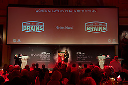 CARDIFF, WALES - Monday, October 5, 2015: Wales' Helen Ward is interviewed  by Frances Donovan after winning the Players' Player of the Year Award during the FAW Awards Dinner at Cardiff City Hall. (Pic by Ian Cook/Propaganda)