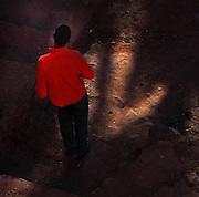 Boy walking in Ksar Ait Ben Haddou, Ounila valley, Ouarzazate province, Morocco. Picture by Manuel Cohen