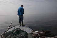 """Venice- Nets in the South lagoon. Ivan Bognolo from Giudecca it's one of the last """"moeche"""" fisherman in the islands"""