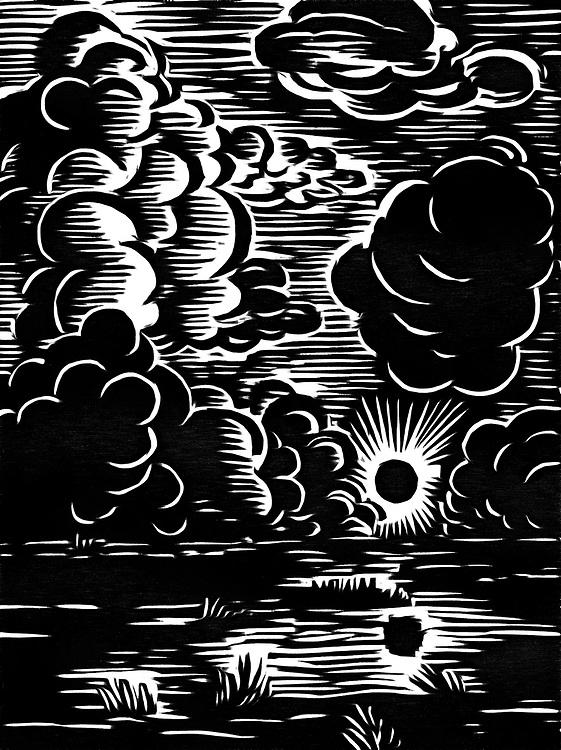 A black / white drawing of a sunrise