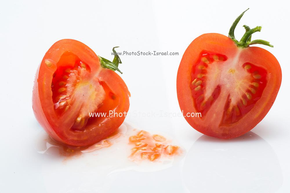 cut tomato on white Background