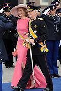 De gasten en koninklijk paar verlaten de kerk na de inhuldiging, Nieuwe Kerk in Amsterdam. <br /> <br /> Guest and Royal couple leave after the inauguration at the Nieuwe Kerk in Amsterdam. <br /> <br />  Princess Mathilde and Prince Philipp of Belgium
