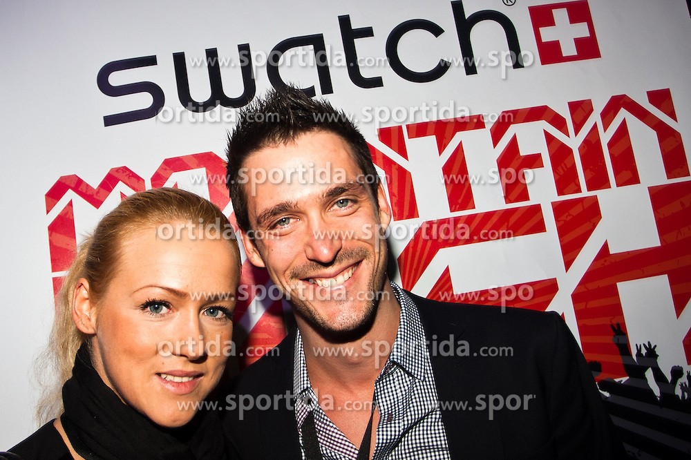 07.12.2012, Saalbach Hinterglemm, Snow Mobile 2012, im Bild TV Moderator Andi Moravec mit Freundin Julia during Snow Mobile 2012 at Swatch Mountain Bash Party Saalbach Hinterglemm, Austria on 2012/12/07. EXPA Pictures © 2012, PhotoCredit: EXPA/ Markus Casna