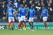 GOAL Jamal Lowe celebrates 4-1 during the EFL Sky Bet League 1 match between Portsmouth and Rochdale at Fratton Park, Portsmouth, England on 13 April 2019.