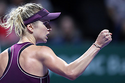 October 28, 2018 - Singapore - Elina Svitolina of the Ukraine reacts to winning a point during the Singles Championship match between Sloane Stephens and Elina Svitolina on day 8 of the WTA Finals at the Singapore Indoor Stadium. (Credit Image: © Paul Miller/ZUMA Wire)