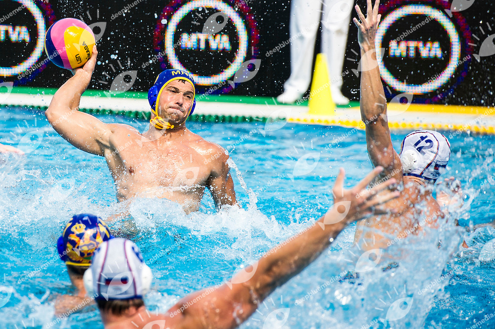 8 JANOVIC Nikola (C) MNE<br /> RUS(white) vs MNO(blue)<br /> LEN European Water Polo Championships 2014<br /> Alfred Hajos -Tamas Szechy Swimming Complex<br /> Margitsziget - Margaret Island<br /> Day02 - July 15 <br /> Photo G. Scala/Inside/Deepbluemedia