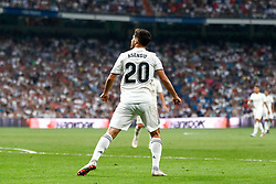 September 22, 2018 - Marco Asensio of Real Madrid celebrates the first goal during the La Liga (Spanish Championship) football match between Real Madrid and RCD Espanyol on September 22th, 2018 at Santiago Bernabeu stadium in Madrid, Spain. (Credit Image: © AFP7 via ZUMA Wire)