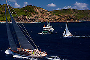 WIld Horses and Papoose sailing in the Antigua Classic Yacht Regatta, Windward Race.