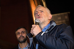 © Licensed to London News Pictures. 04/12/2015. London, UK. Mohammed Kozbar, chairman of Finsbury Park Mosque listens to JEREMY CORBYN speaking at an anti-Islamophobia rally and protest against racism and anti-muslim hate crime, outside the Finsbury Park Mosque in north London. The rally, organised by Finsbury Park Mosque, Stand Up To Racism and Stop The War Coalition follows an attempted arson attack on Finsbury Park Mosque last week and was attended by Labour Party leader and local MP for Islington North, Jeremy Corbyn. Photo credit : Vickie Flores/LNP