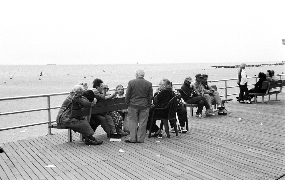 Elderly people in discussions, Brooklyn, New York, NY